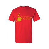 Black Coffee T Shirt - Red T Shirt with Gold text - MoKa Queenz