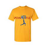 PowHERful Shirt -Women's Empowerment shirt - -Yellow t shirt with royal blue and red print - MoKa Queenz