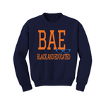 BAE Black and Educated Sweatshirt - Navy Blue sweatshirt with Orange and Royal blue Text - MoKa Queenz