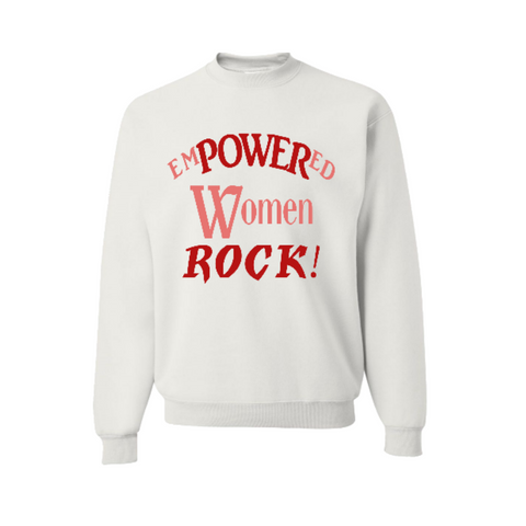 Empowered Women Sweatshirt - White sweatshirt with red and coral text - MoKa Queenz
