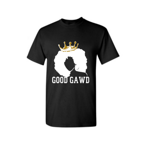 Black Queen T- Shirt - Melanin Shirt - GoodGAWD T Shirt - Black T-shirt with White and Gold Graphic- MoKa Queenz