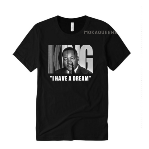 Black History Shirt | MLK Shirt |  Black T shirt with MLK Picture printed in KING text