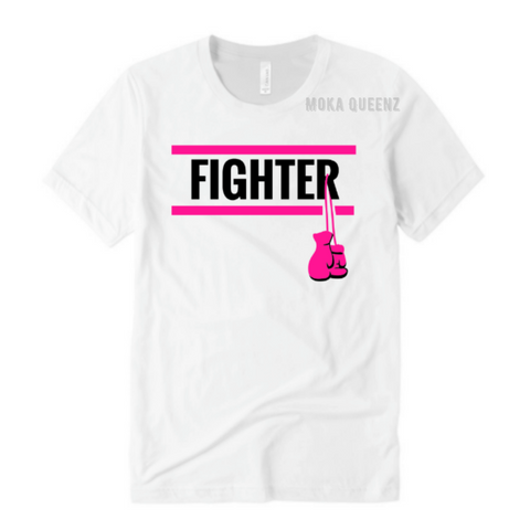 Breast  Cancer Fighter Shirts | White T-Shirt with Black and Pink Text | MoKa Queenz