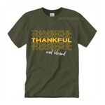 Thankful Shirt | Thanksgiving Shirt | Hunter Green T-shirt with yellow and white text