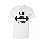 Work Out T-Shirt - Rise and Grind - White t-shirt with Black text - MoKa Queenz