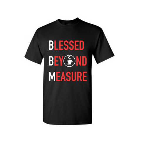 Blessed Beyond Measure Christian  T Shirt - Black t shirt with red and white text  - - Moka Queenz