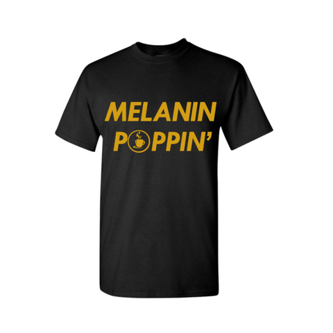 Melanin Shirt | Melanin Popping Tee Shirt - Black t-shirt with Gold print - MoKa Queenz