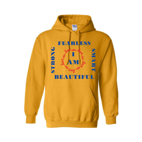 I Am  Women's Empowerment Hoodie - Yellow hoodie with red and royal blue print- MoKa Queenz