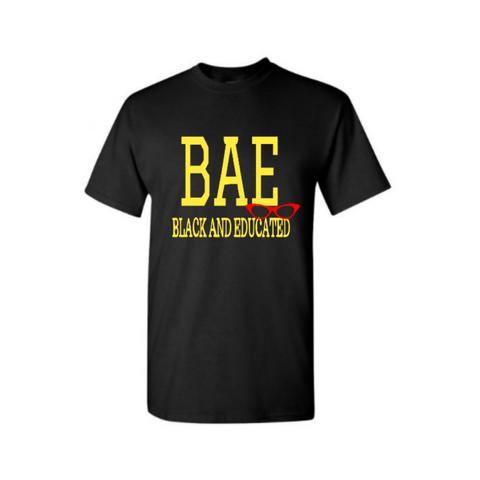 BAE Shirt - BAE Black and Educated shirt - Black t shirt with yellow and red text - MoKa Queenz