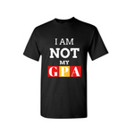 I AM NOT MY GPA T Shirt - College T-Shirt - Black t shirt with white, red and yellow text