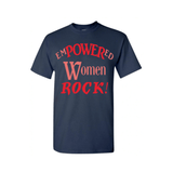 Empowered Women  Rock - Navy Blue t shirt with Red and Coral print - MoKa Queenz
