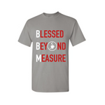 Blessed Beyond Measure Christian  T Shirt -Grey t shirt with red and white text  - - Moka Queenz