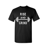 Work Out T-Shirt - Rise and Grind - Black t -shirt with White text - MoKa Queenz