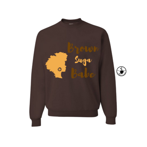 Brown Suga Babe Sweatshirt - Brown sweatshirt with brown and tan graphic - MoKa Queenz
