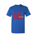 BAE Shirt - BAE Black and Educated shirt - Royal blue  t shirt with red and yellow text - MoKa Queenz