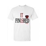 It is Finished! Christian T Shirt - White T Shirt with red and black text - Moka Queenz