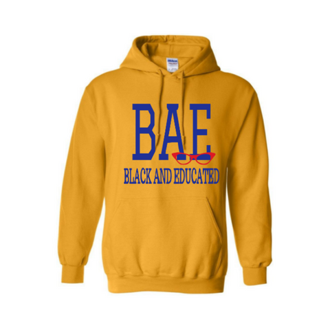 Kids Sweatshirt - BAE Hoodie - Yellow Hoodie with Royal blue and red print - MoKa Queenz