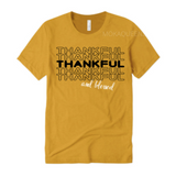 Thankful Shirt | Thanksgiving Shirt | Mustard Yellow T-shirt with Black and white text