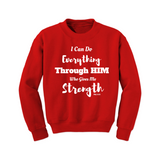 Christian Sweatshirt - Strength Through HIM - Red/White - MoKa Queenz