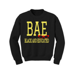 BAE Black and Educated Sweatshirt - Black sweatshirt with Yellow and Red Text - MoKa Queenz