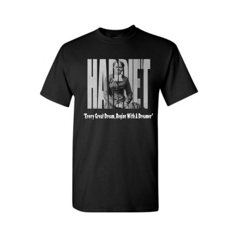 Black History Shirts | Harriet Tubman Shirt - Black T shirt with Harriet Picture printed in Harriet text - Moka Queenz