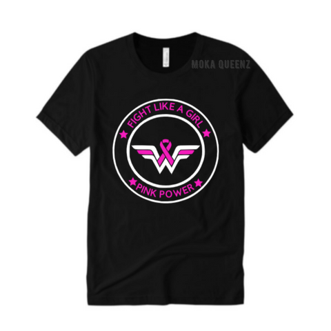 Breast Cancer Shirt - FIGHT Like a Girl T Shirt - Black T shirt with pink and white wonder woman graphic - MoKa Queenz