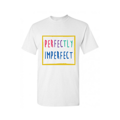 Perfectly Imperfect T Shirt - White t shirt with yellow, pink, blue, purple and green graphic  - MoKa Queenz