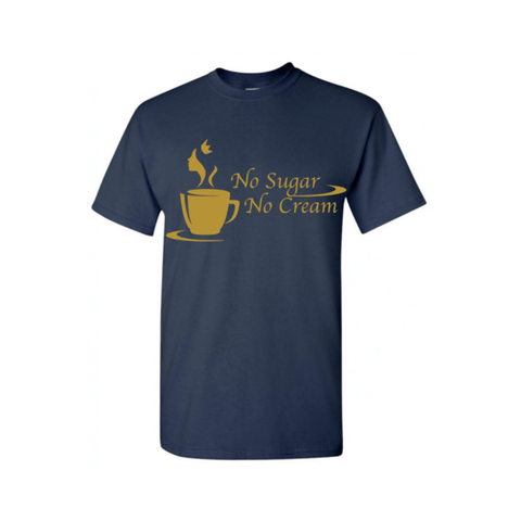 Black Coffee T Shirt - Navy Blue T Shirt with Gold text - MoKa Queenz