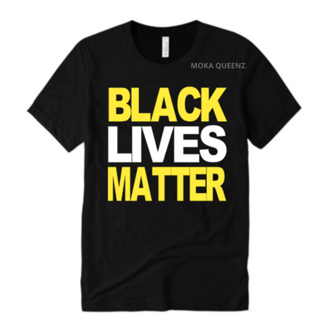 BLM Shirt | Black T-shirt with fluorescent yellow and white text