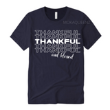 Thankful Shirt | Thanksgiving Shirt | Navy Blue T-shirt with  white text