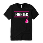 Breast  Cancer Fighter Shirts | Black T-Shirt with White and Pink Text | MoKa Queenz