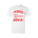 Empowered Women  Rock - White t shirt with Red and Coral print - MoKa Queenz
