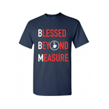 Blessed Beyond Measure Christian  T Shirt - Navy Blue t shirt with red and white text  - - Moka Queenz
