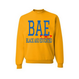 BAE Black and Educated Sweatshirt - Yellow sweatshirt with royal blue and red Text - MoKa Queenz