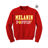 Melanin Poppin Sweatshirt - Red sweatshirt with yellow and white text - MoKa Queenz