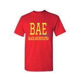 BAE Shirt - BAE Black and Educated shirt - Red t shirt with yellow and Royal blue text - MoKa Queenz