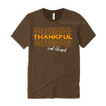 Thankful Shirt | Thanksgiving Shirt | Brown T-shirt with Orange and white text