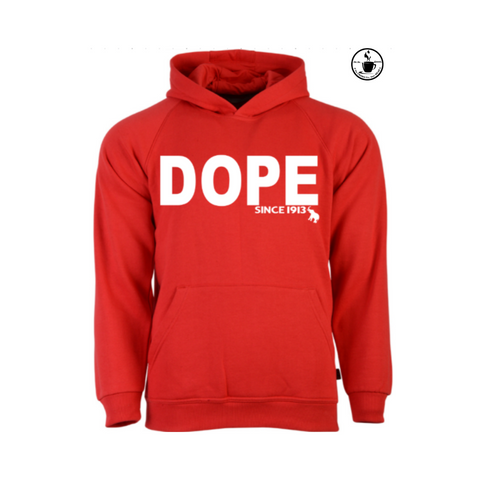 Delta Sigma Theta Paraphernalia - Red Hoodie with white Text : DOPE SINCE 1913 DST Hoodie - Moka Queenz