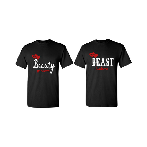 Couples Shirts | Beauty and the Beast Shirts - Black t-shirt with red and white text - MoKa Queenz