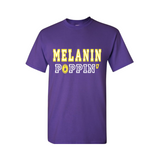 Melanin Poppin T-Shirt - Purple t shirt with Yellow and White text - MoKa Queenz