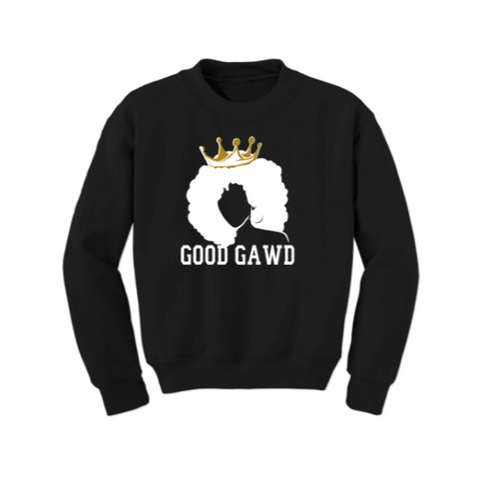 Melanin Shirt - GoodGAWD Sweatshirt - Black Sweatshirt with white and gold graphic  - MoKa Queenz