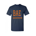 BAE Shirt - BAE Black and Educated shirt -Navy blue t shirt with orange and royal blue text - MoKa Queenz