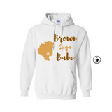 Brown Suga Babe Hoodie | Melanin Shirt | - White Hoodie with Brown and Tan Graphic - MoKa Queenz