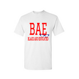 BAE Shirt - BAE Black and Educated shirt - White t shirt with Red and royal blue text - MoKa Queenz