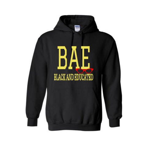 BAE Black and Educated Hoodie - Black hoodie with yellow and red print - MoKa Queenz