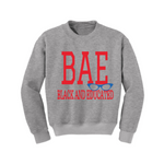BAE Black and Educated Sweatshirt - Grey sweatshirt with Red and Royal blue Text - MoKa Queenz