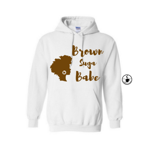 Brown Suga Babe Hoodie | Melanin Shirt | - White Hoodie with Brown Graphic - MoKa Queenz