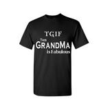Fabulous Grandma Shirts - Black T shirt with White Text - MoKa Queenz