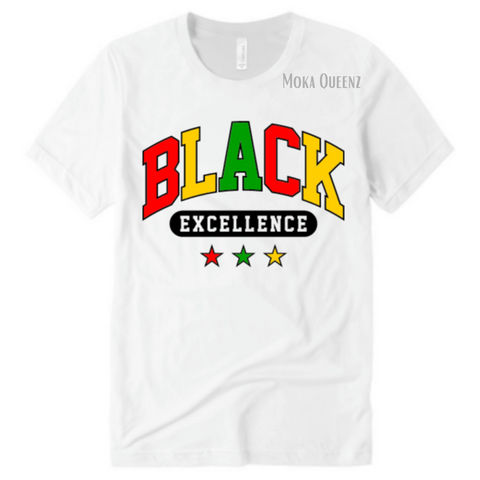 BLACK EXCELLENCE SHIRT | WHITE T SHIRT WITH RED, YELLOW AND GREEN AND BLACK GRAPHICS