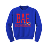 BAE Black and Educated Sweatshirt - Royal Blue sweatshirt with Yellow and Red Text - MoKa Queenz